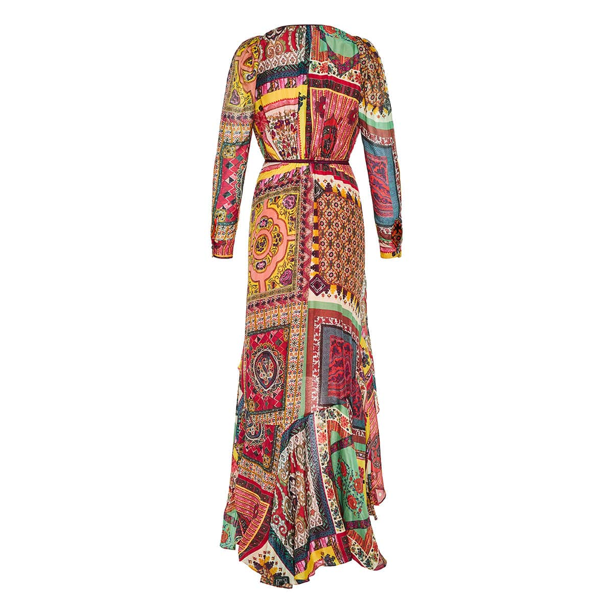 Patchwork print asymmetric ruffled wrap dressPatchwork print asymmetric ruffled wrap dress