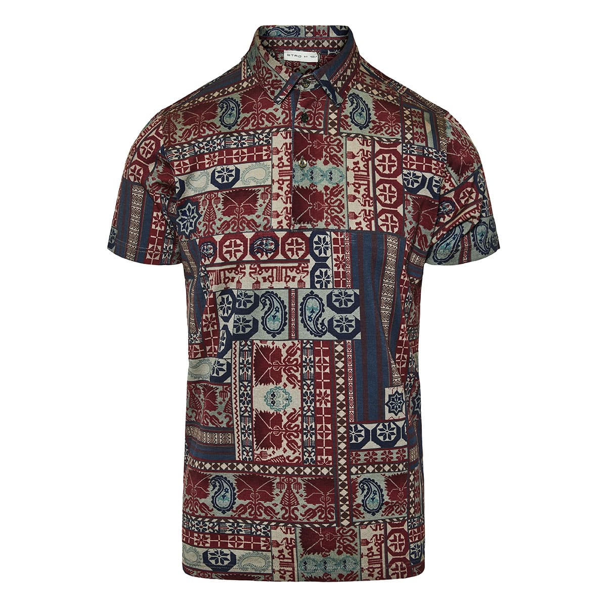 Patchwork print polo shirt