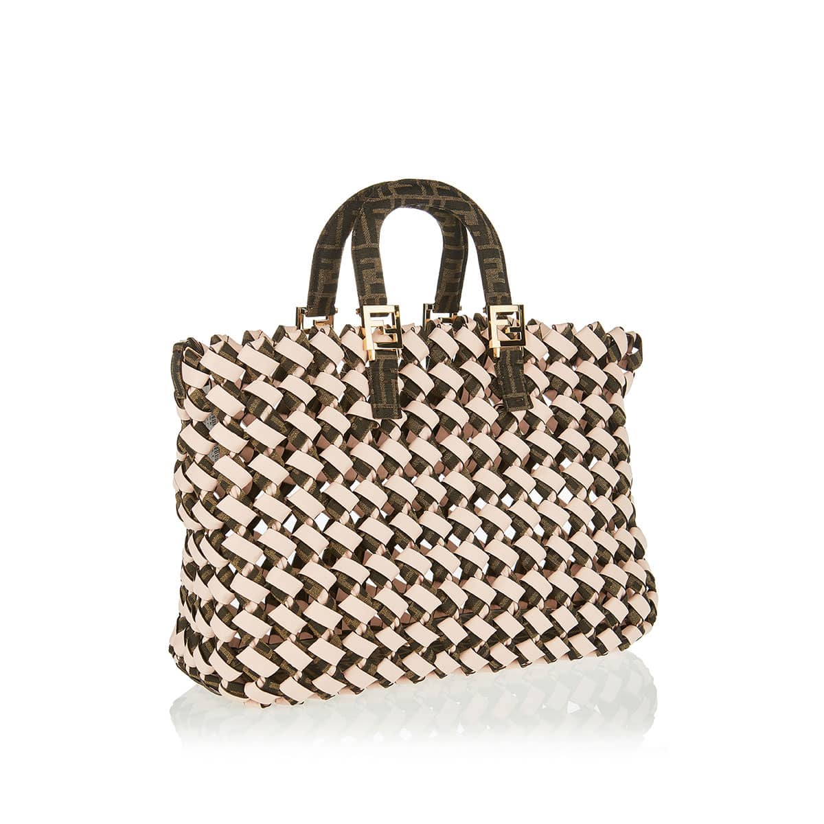 FF canvas and leather woven tote