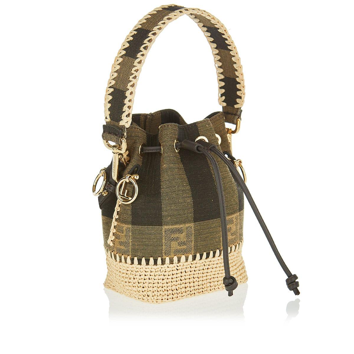 Mon Tresor FF striped mini bucket bag