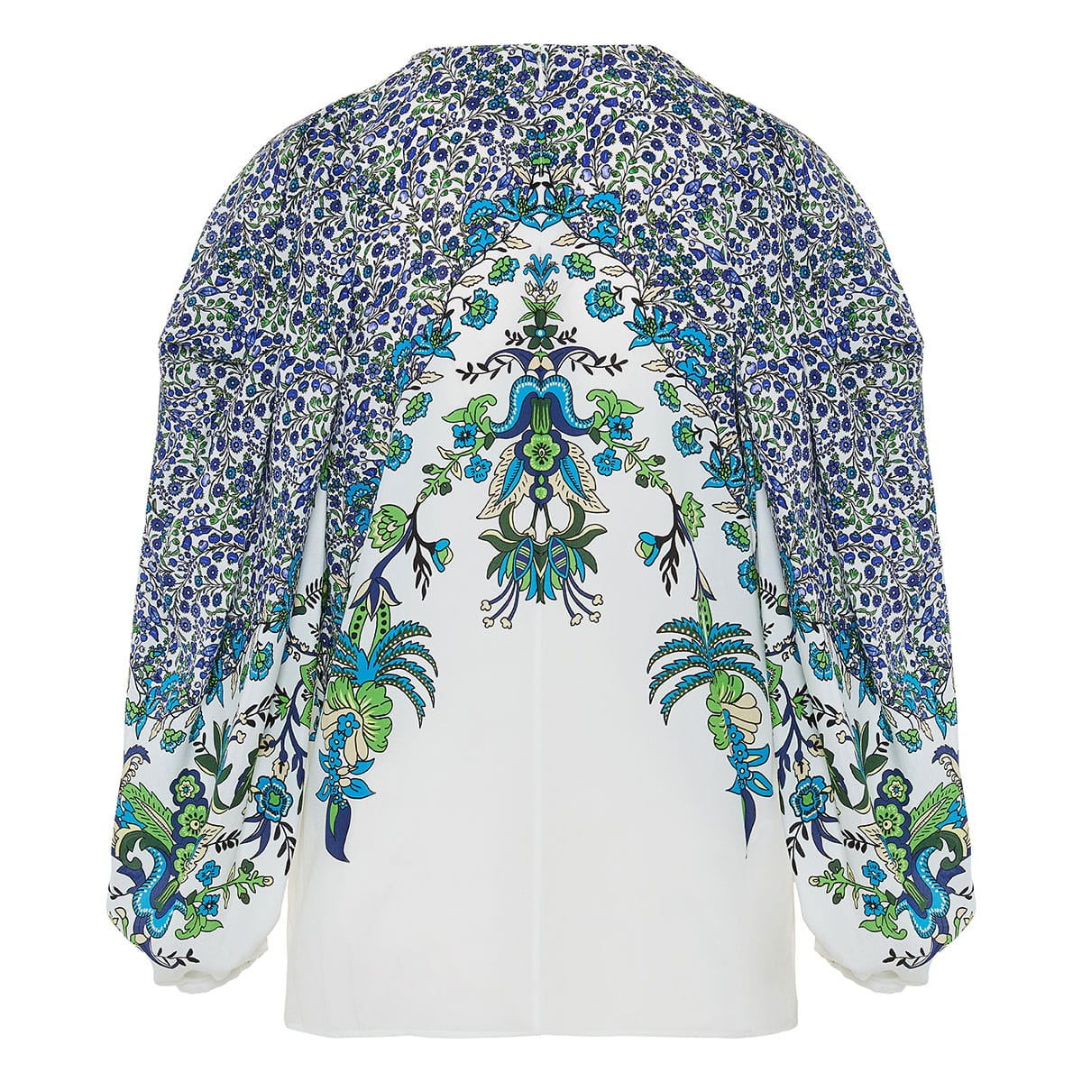 Balloon-sleeved floral blouse