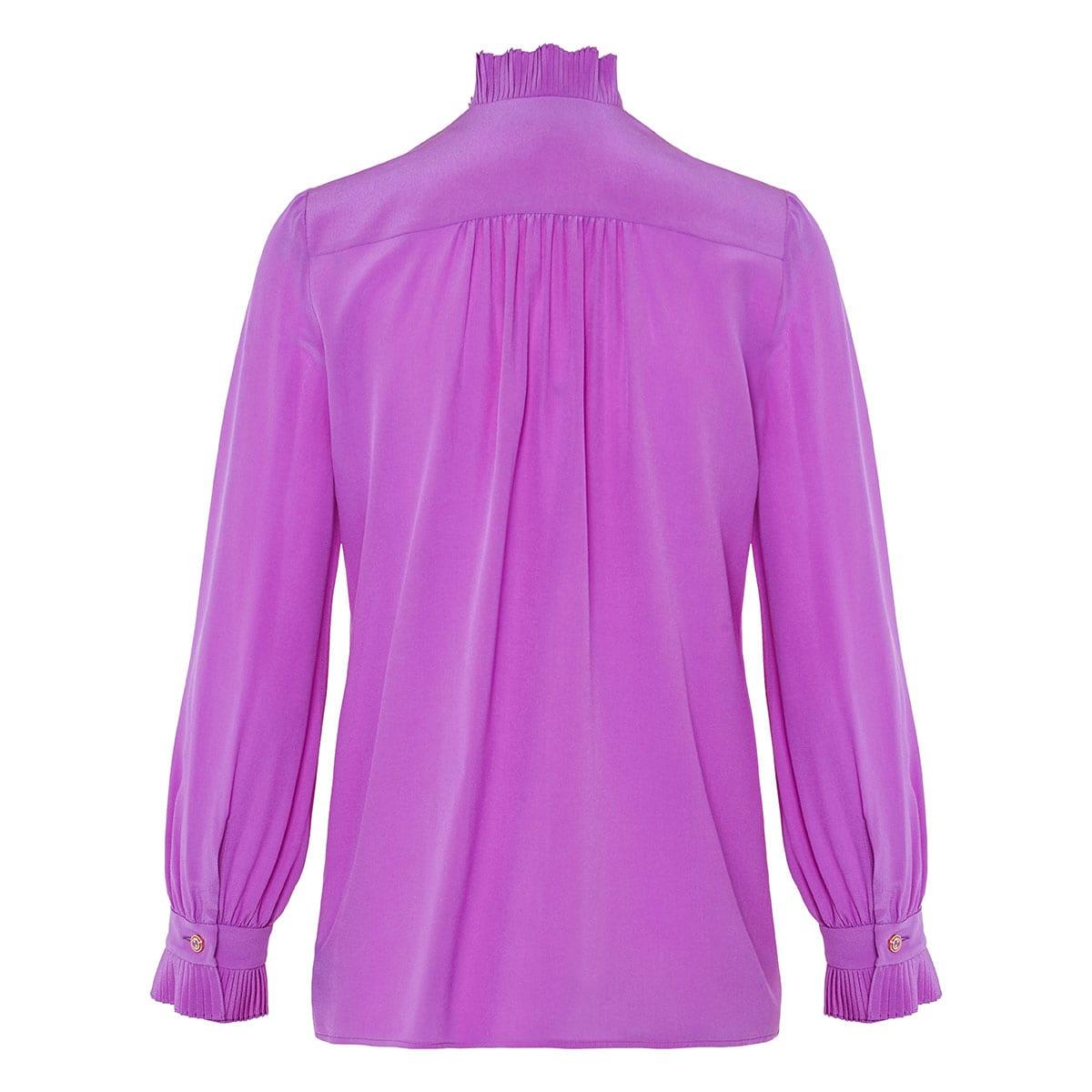 Ruffle-trimmed silk shirt