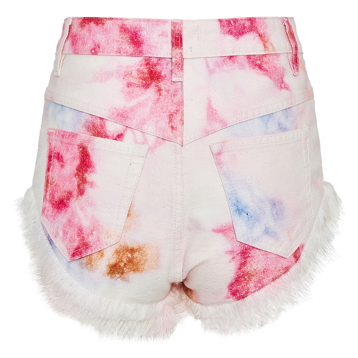 Tie-dye fringed denim mini shorts
