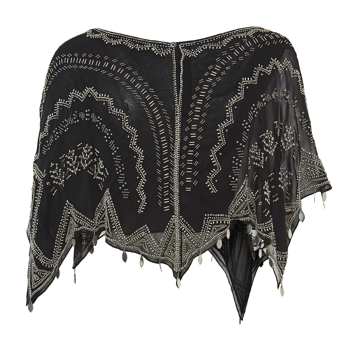 Bead-embellished cropped cape top