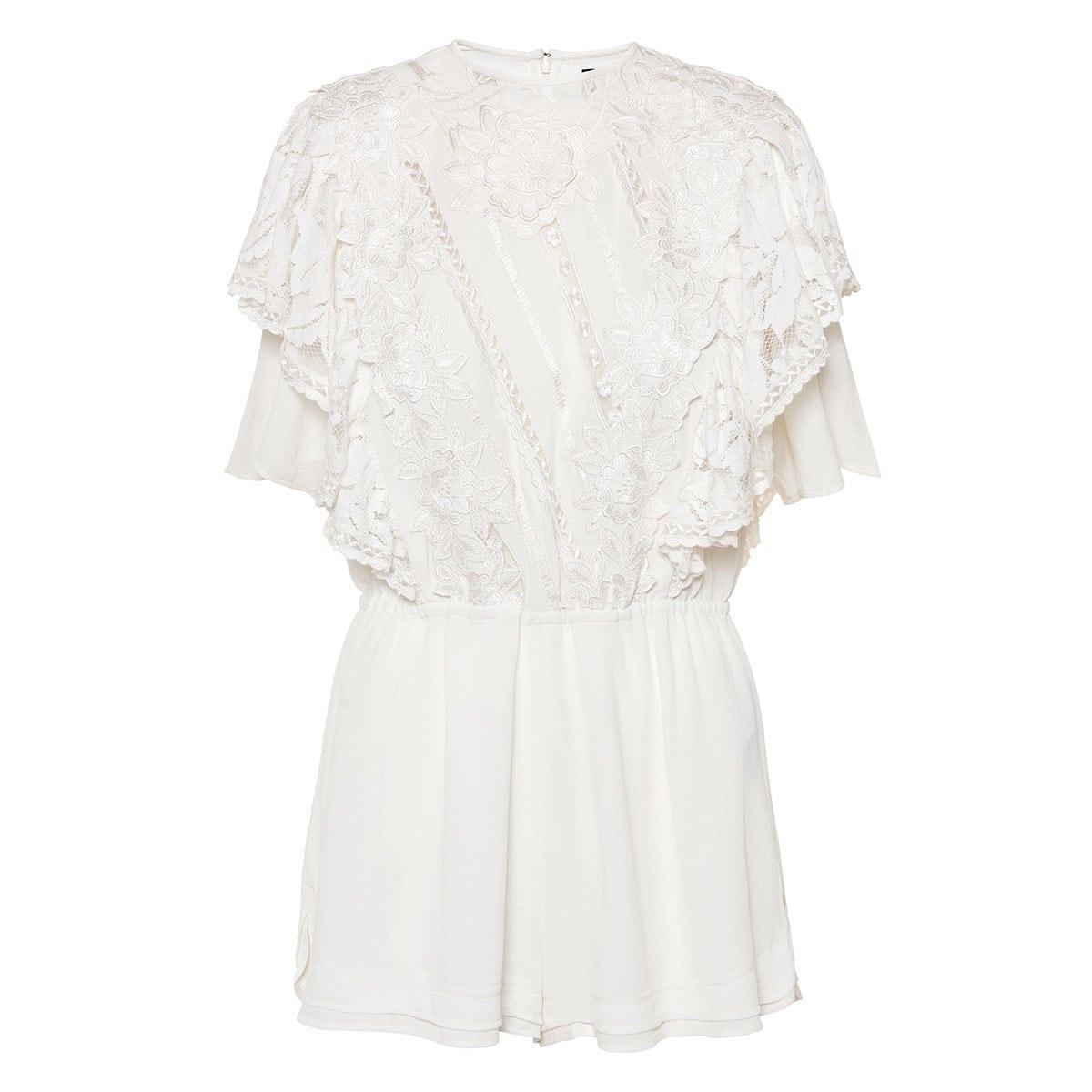 Lace-paneled silk playsuit