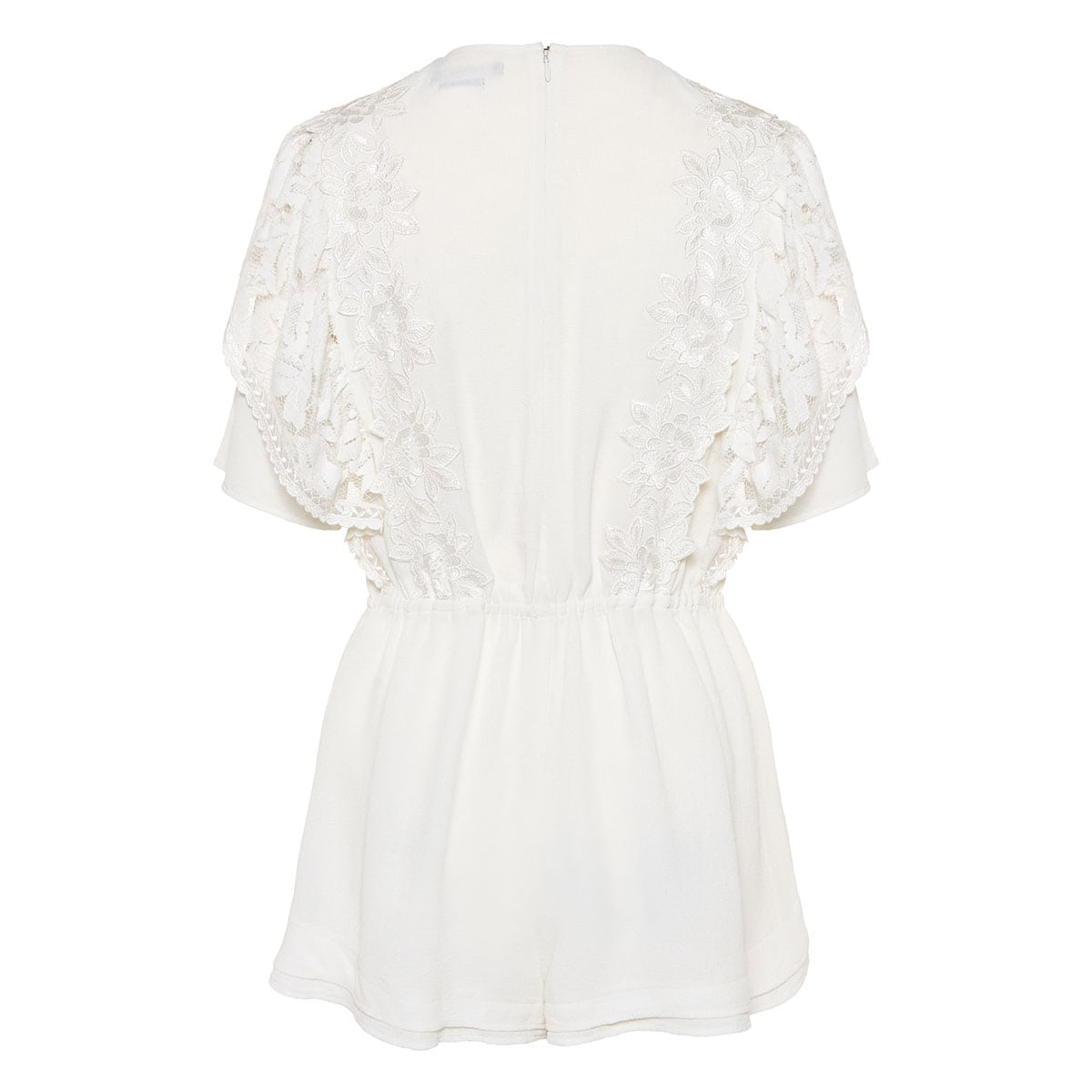 Lace-paneled silk playsuit