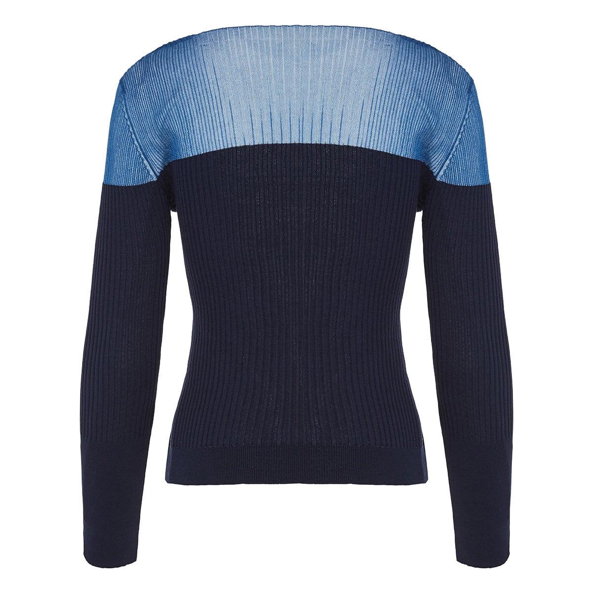 Tordu two-tone asymmetric ribbed cardigan
