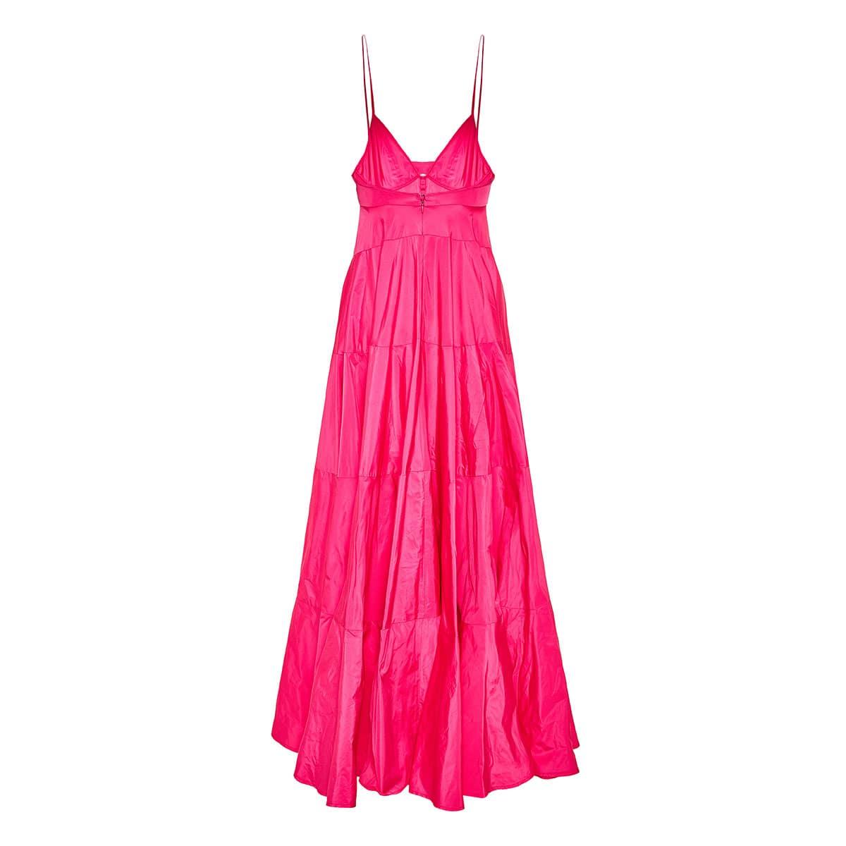 Manosque long flared taffeta dress