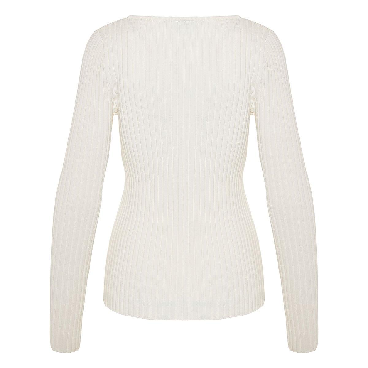 Αsymmetric collar ribbed sweater