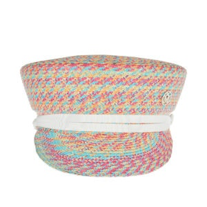 Abby graphic woven straw cap