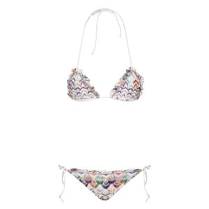 Frilled crochet triangle bikini