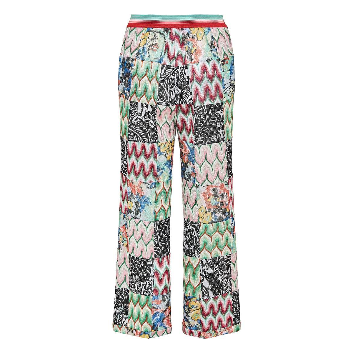 Patchwork print wide-leg crochet trousers