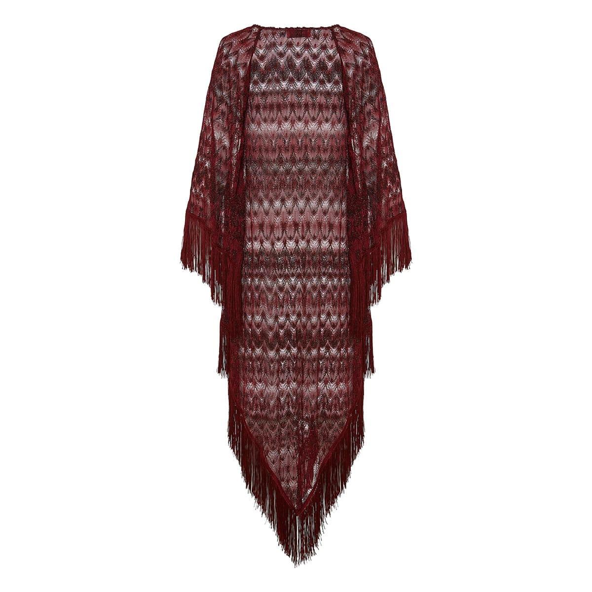 Crochet-knitted fringed kaftan dress