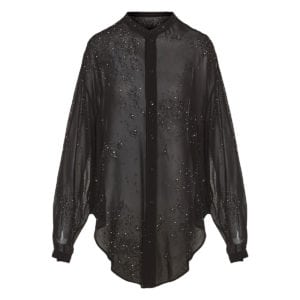 Bead-embellished oversized sheer shirt