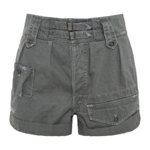 High-waist denim cargo shorts