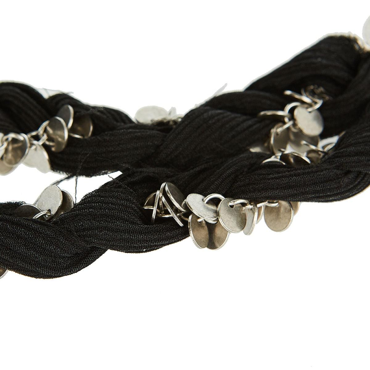 Chain-embellished braided slim scarf