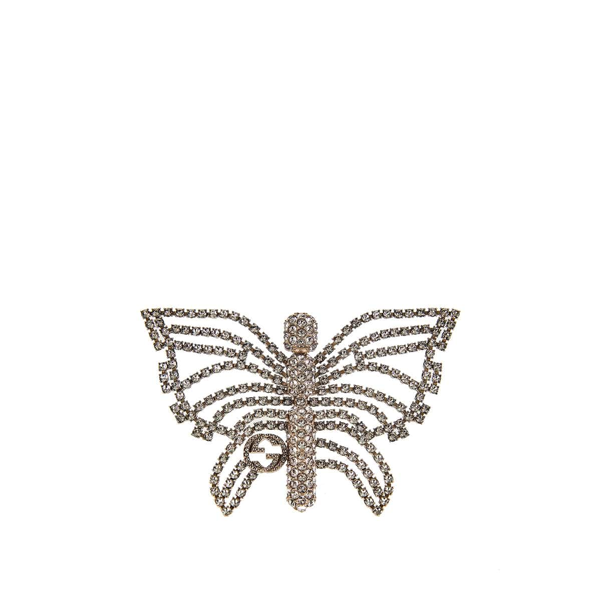 Crystal-embellished butterfly brooch