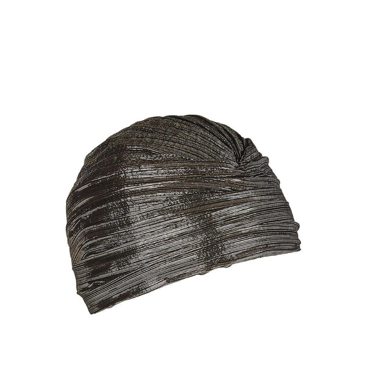 Lurex and silk jacquard turban