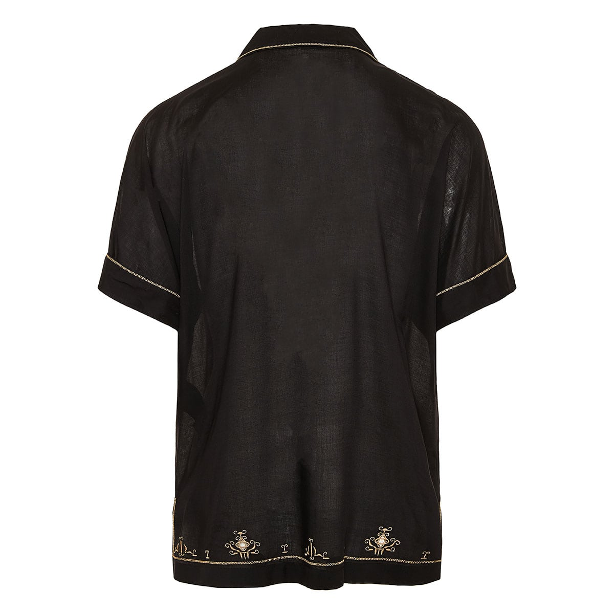 Tunic shirt with metallic embroideries