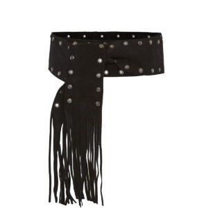 Fringed studded suede sash belt