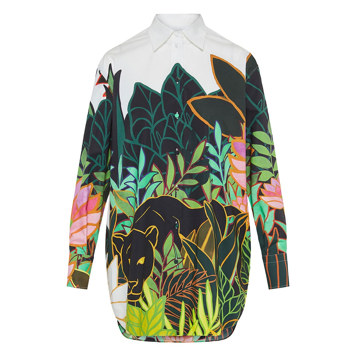Panther In The Jungle oversized poplin shirt