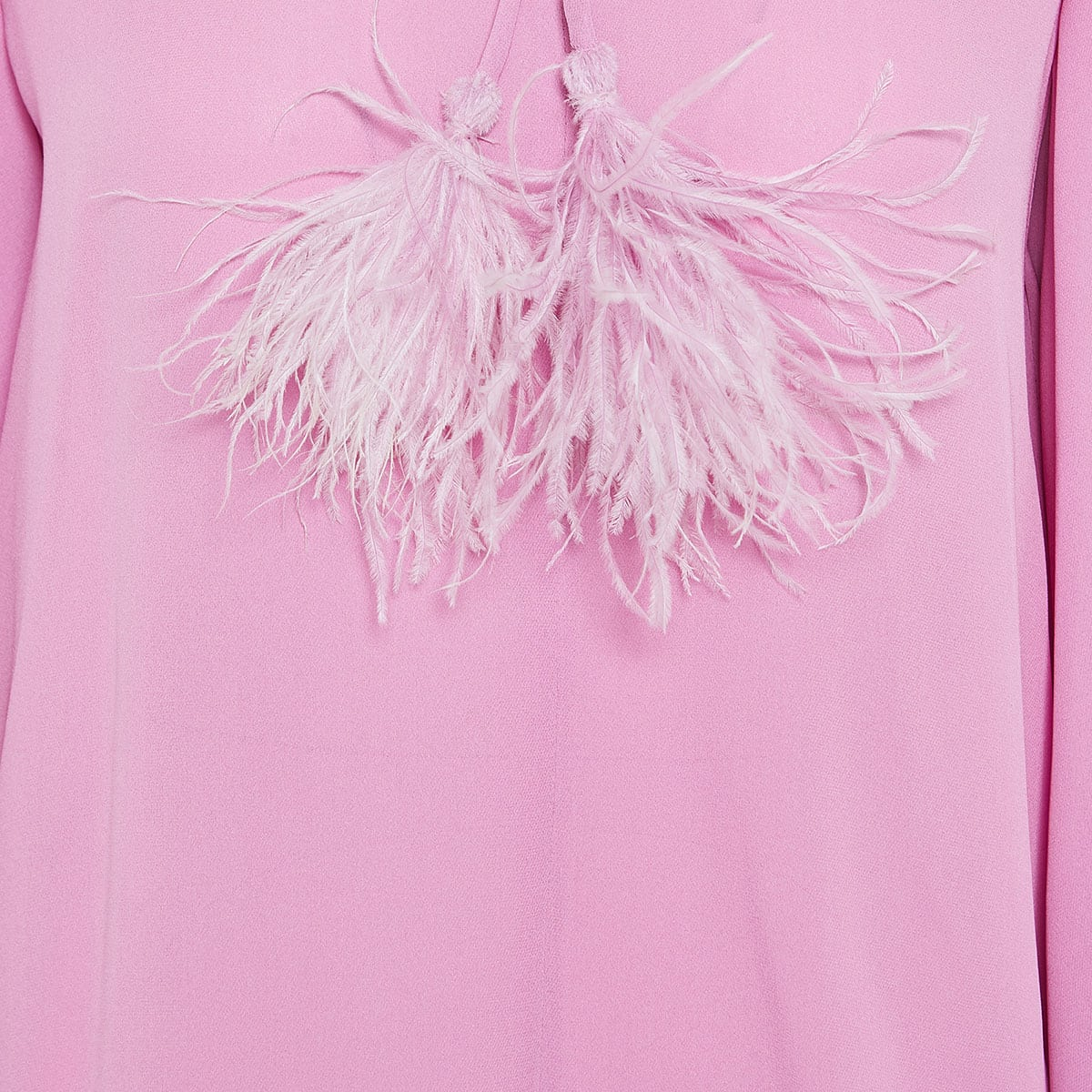 Crepe blouse with feather-trimmed ties