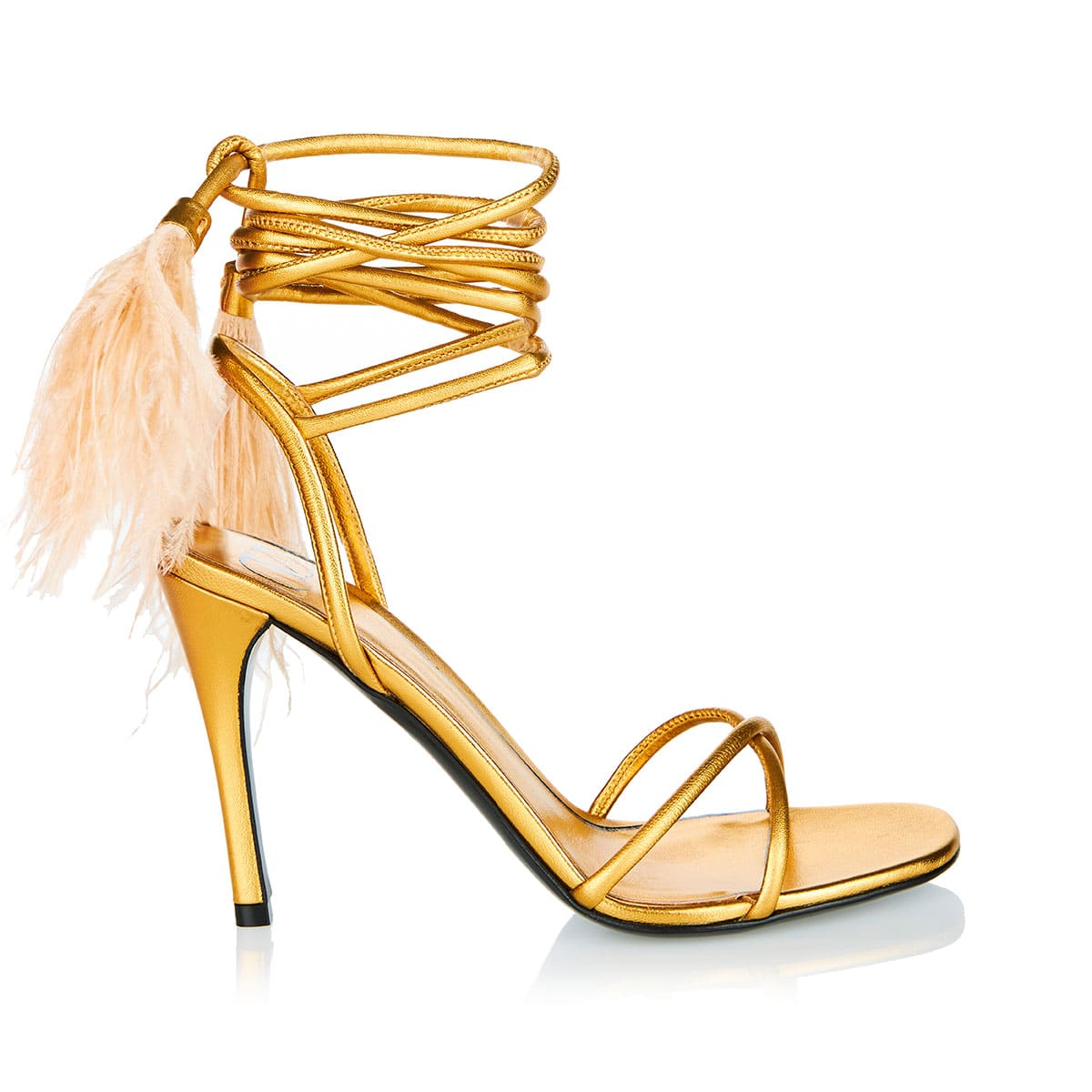 Upflair 100 feather-trimmed metallic sandals