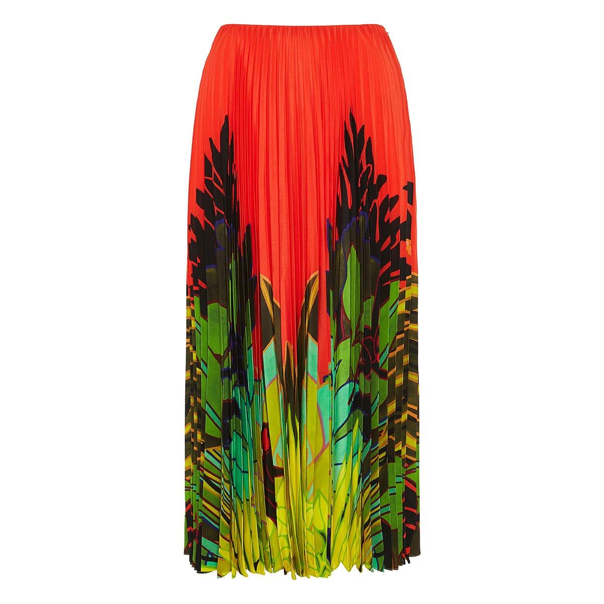 Mirrored Monkeys Forest pleated midi skirt