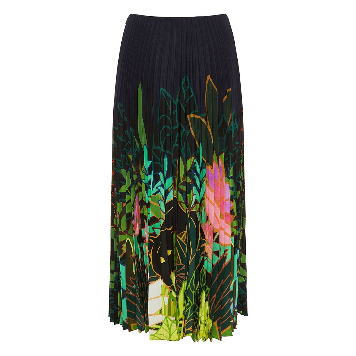 Panther In The Jungle pleated midi skirt
