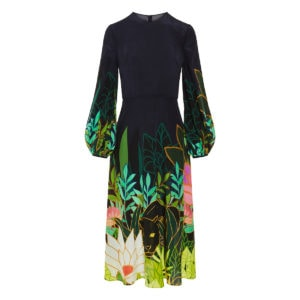 Panther In The Jungle flared midi dress