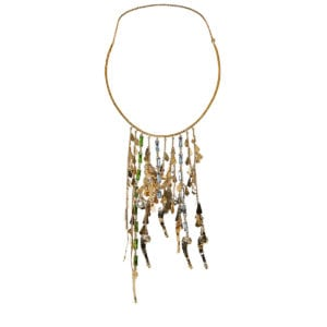 Cult crystal-embellished brass necklace