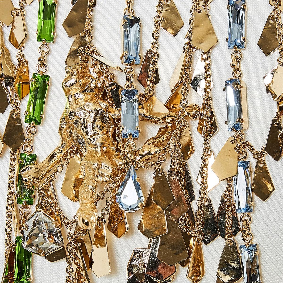 Cult crystal-embellished brass necklace