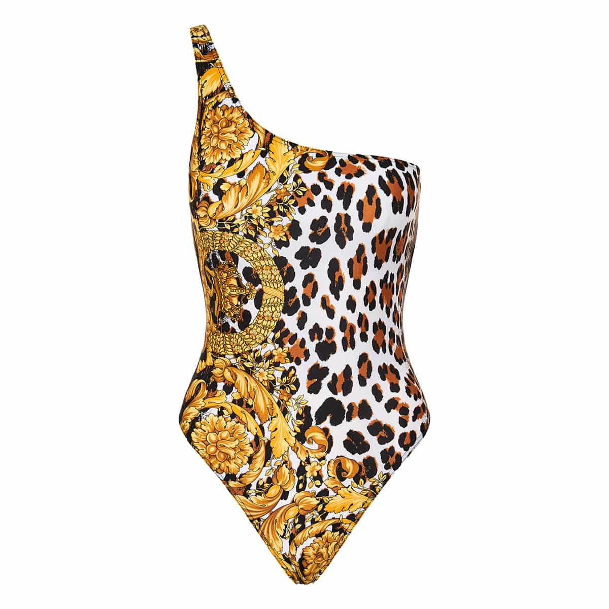 Baroque and leopard print one-shoulder swimsuit