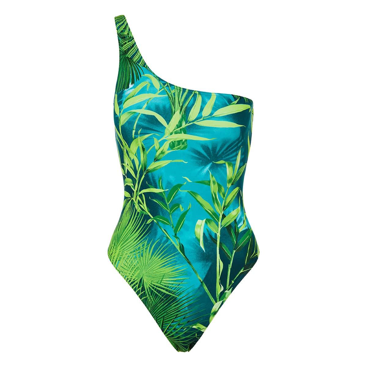 Jungle print one-shoulder swimsuit