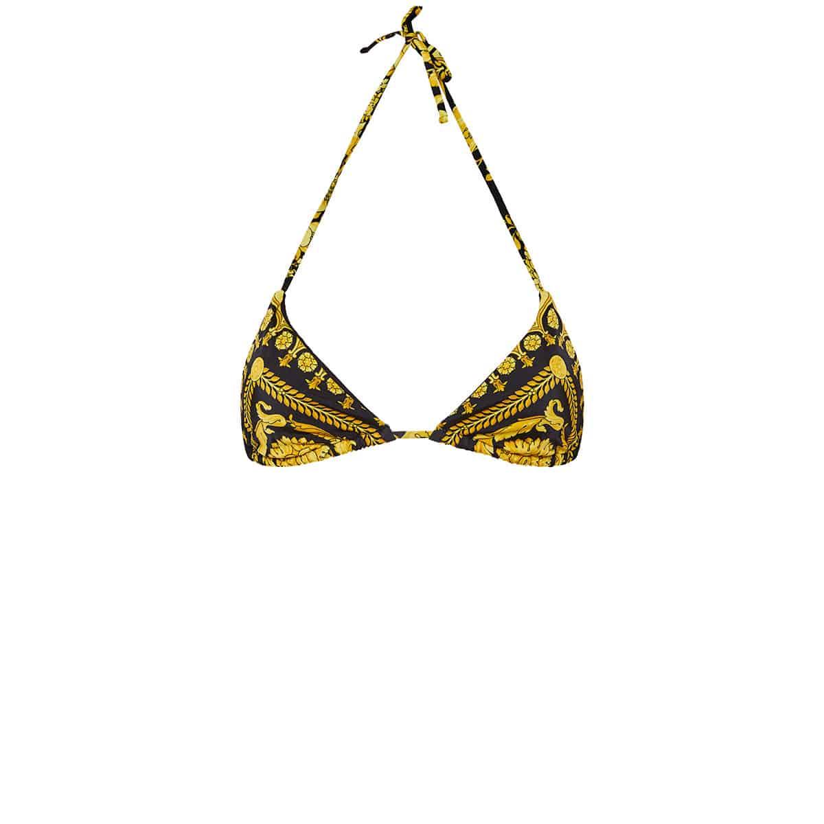 Baroque print triangle bikini top