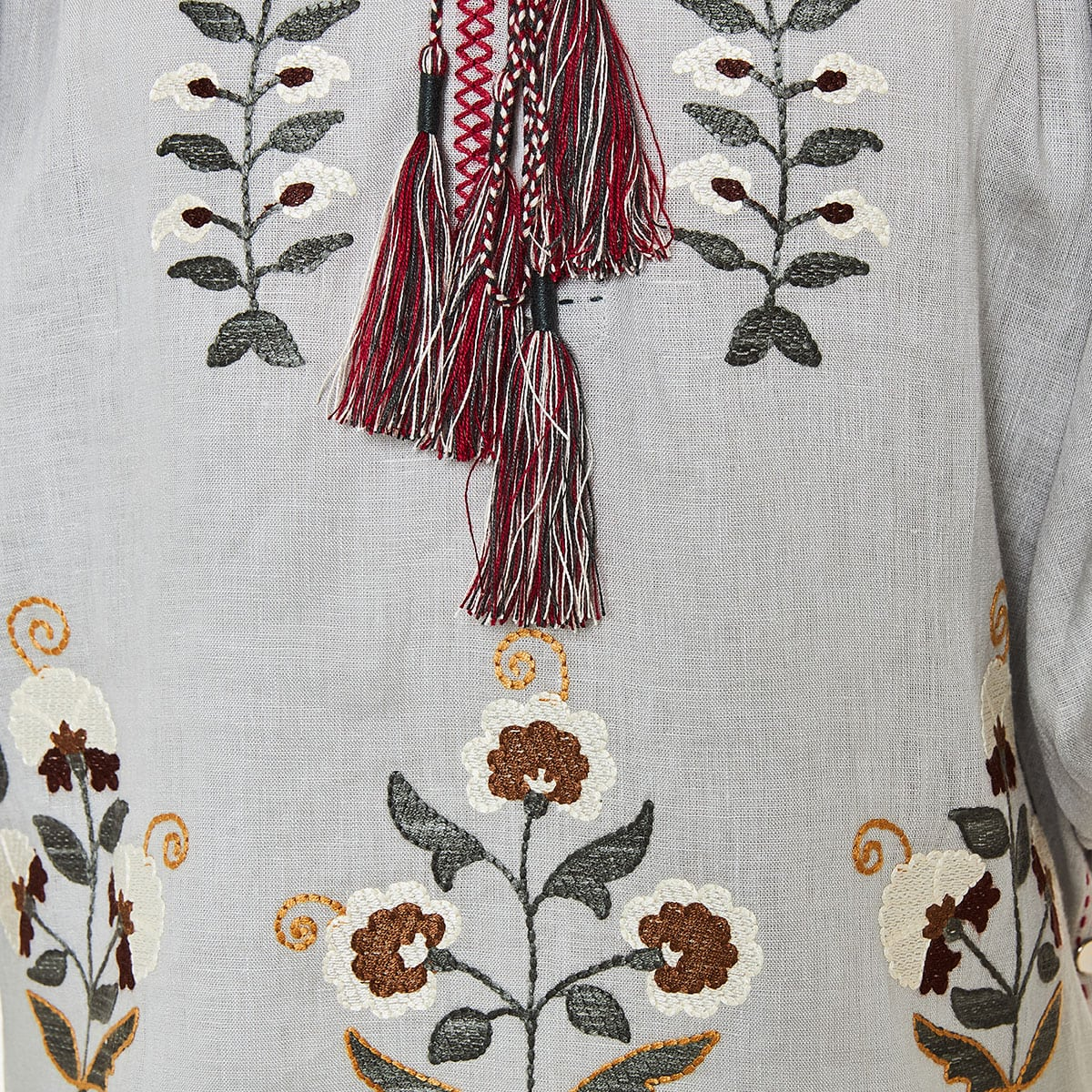 Balloon-sleeved embroidered linen blouse
