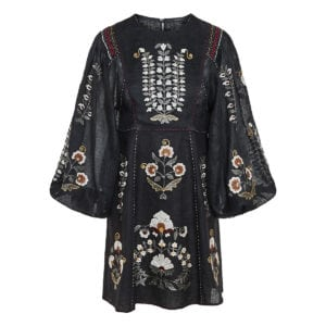 Balloon-sleeved embroidered linen dress