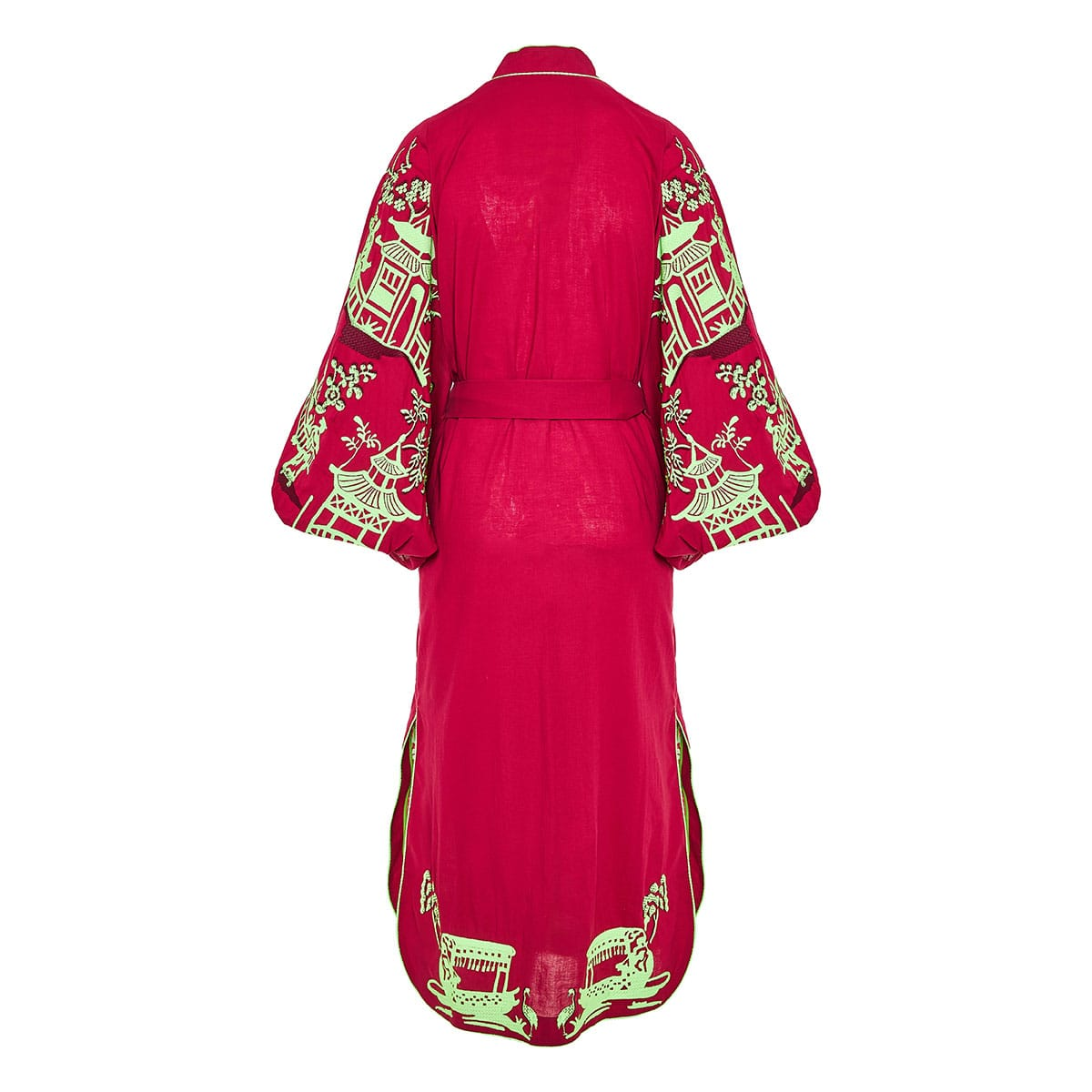 Chinoiserie balloon-sleeved embroidered midi dress