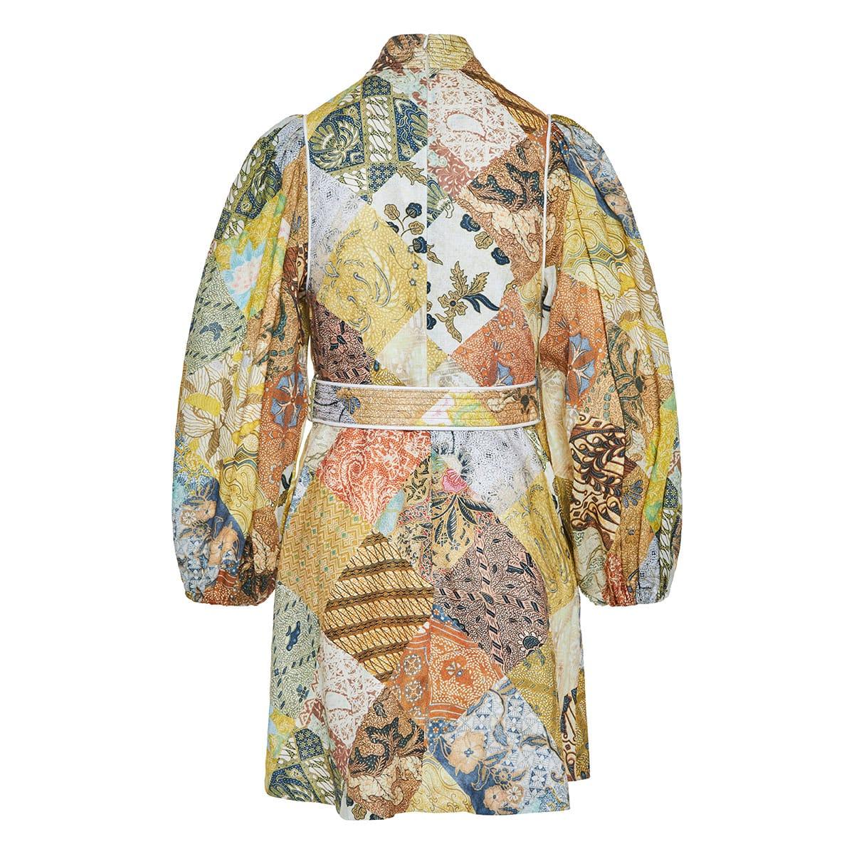 Brightside patchwork print mini dress
