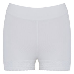 Stretch-knit scalloped shorts