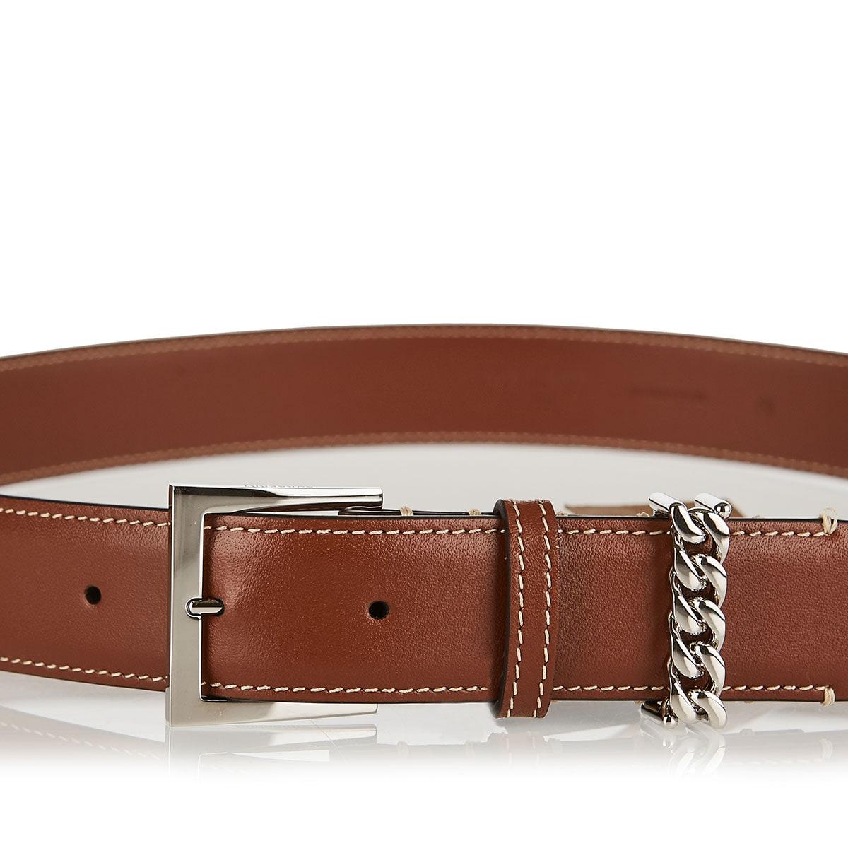 Chain-embellished leather belt