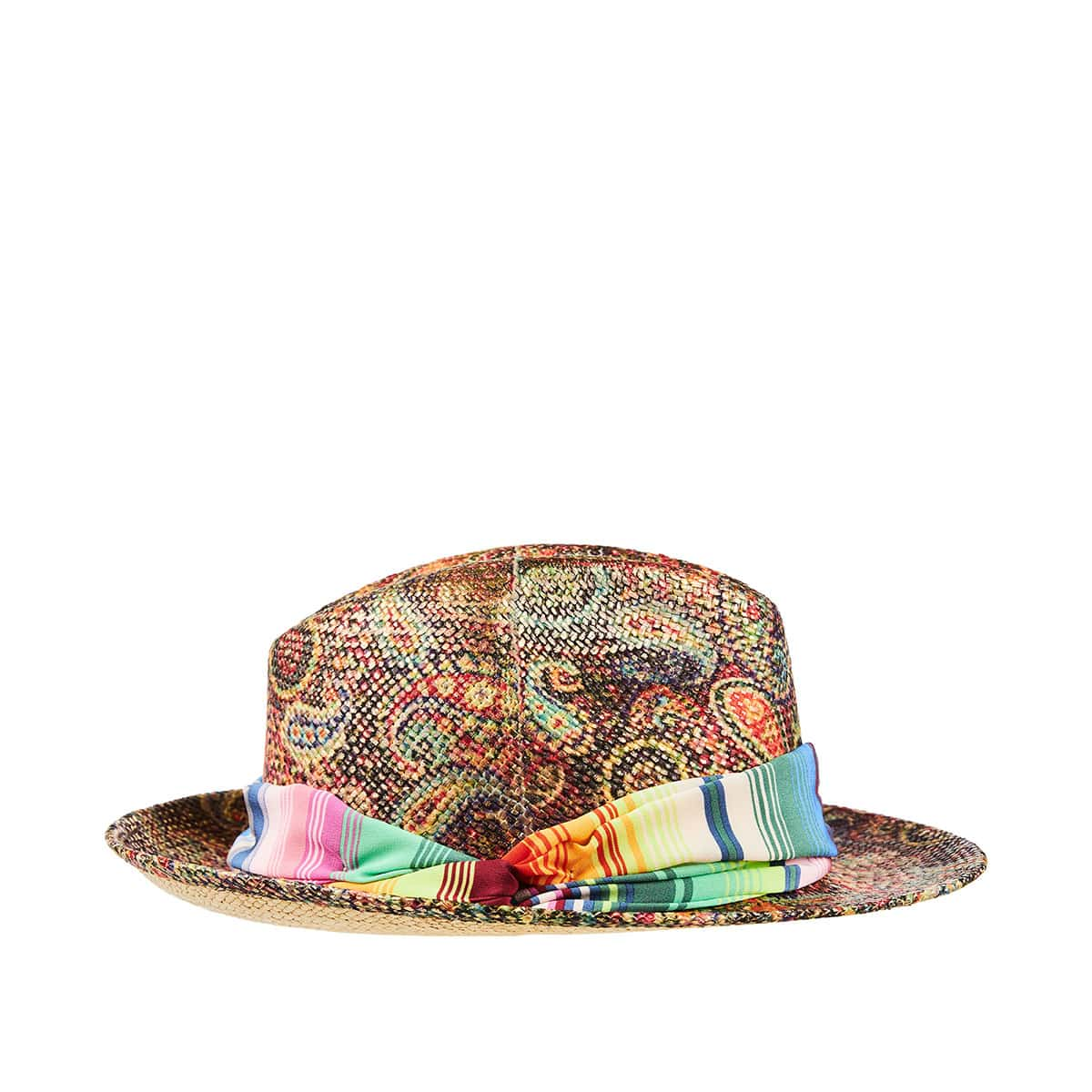 Paisley print straw hat