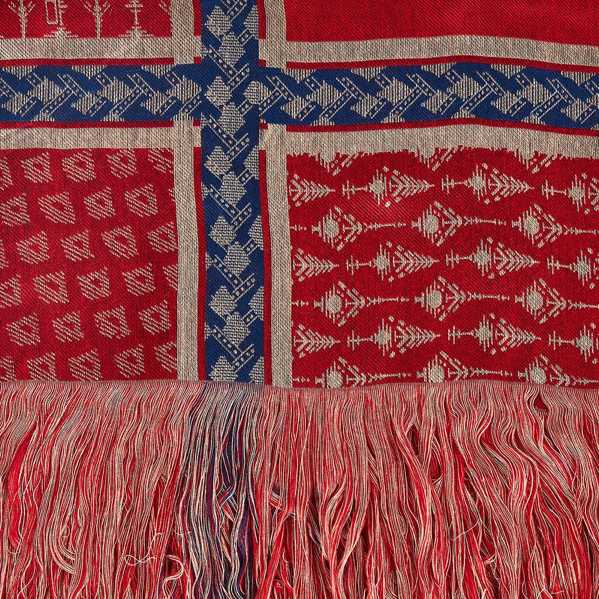 Printed jacquard scarf