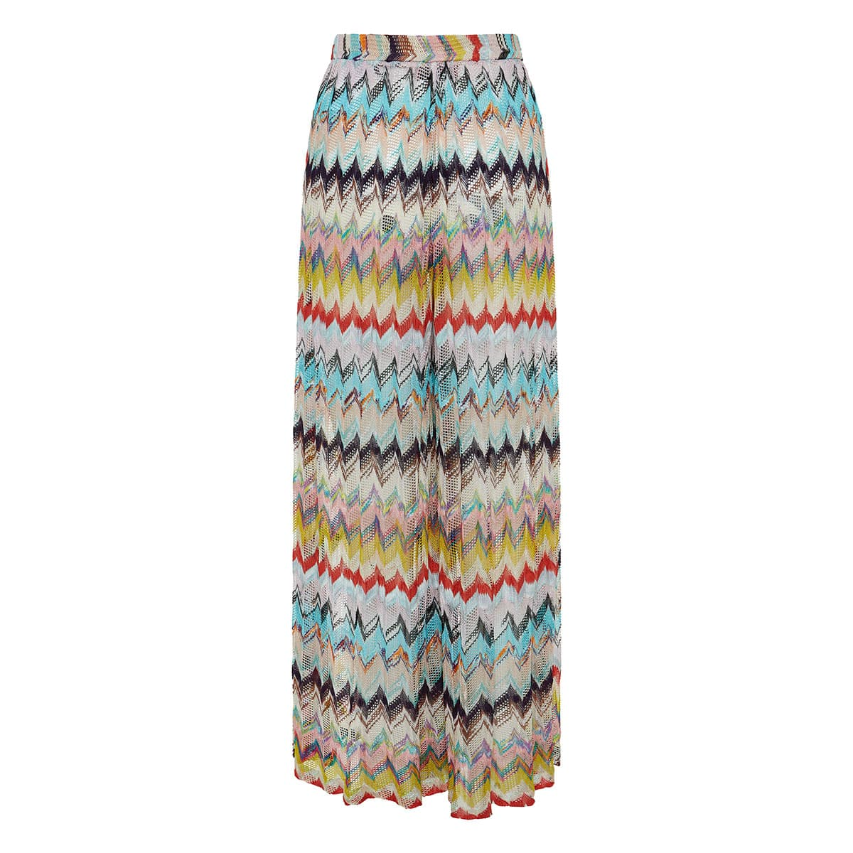Abstract print wide-leg knitted trousers