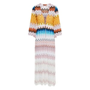 Abstract print long knitted dress