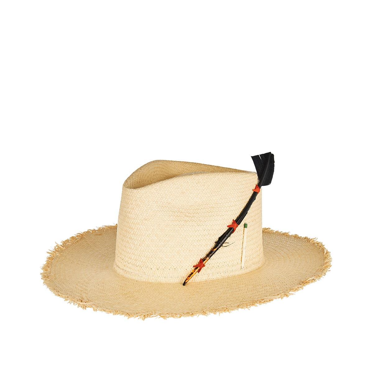 Black Bird woven straw hat
