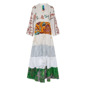 Kendima long tiered patchwork dress