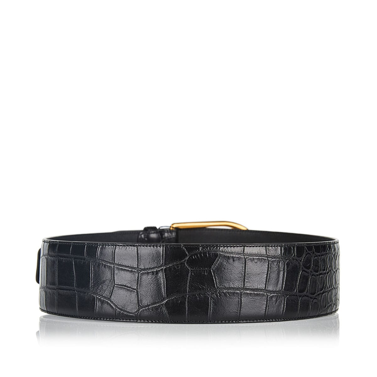 Croc-effect wide belt