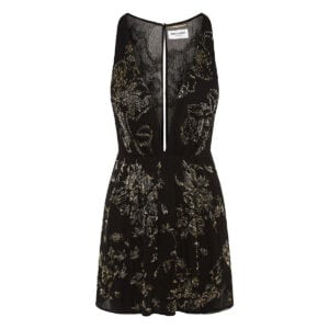Mini dress with lurex embroideries
