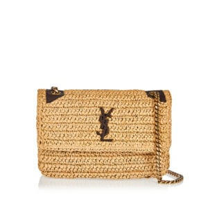 Niki medium raffia and leather bag
